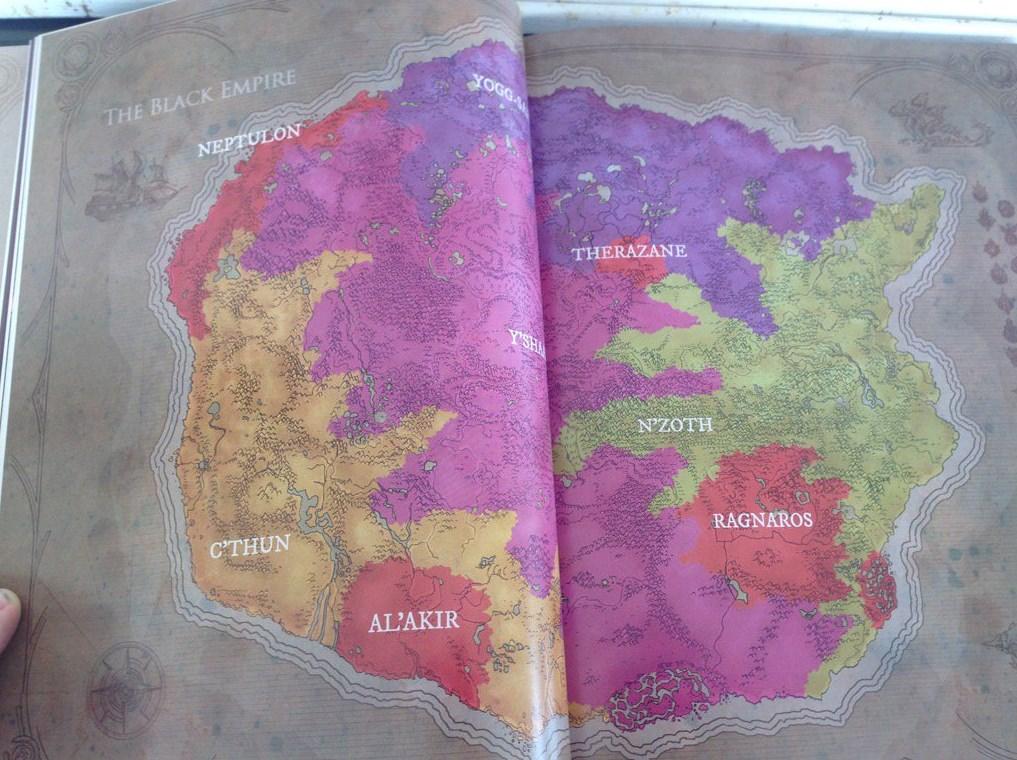 Element Lordları ve Eski Tanrılar'ın hakimiyet bölgelerini gösteren, kitaptan alınmış bir fotoğraf