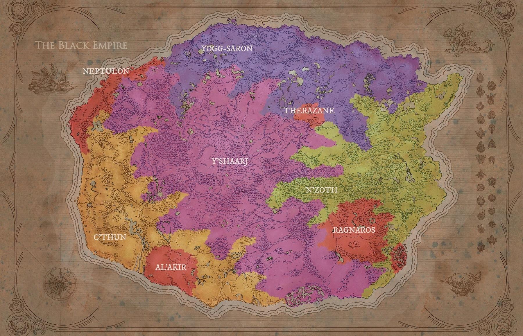 İlkel çağlardaki Azeroth üzerinde hüküm sürem Element Efendileri ve Eski Tanrılar'ın egemen oldukları topraklar
