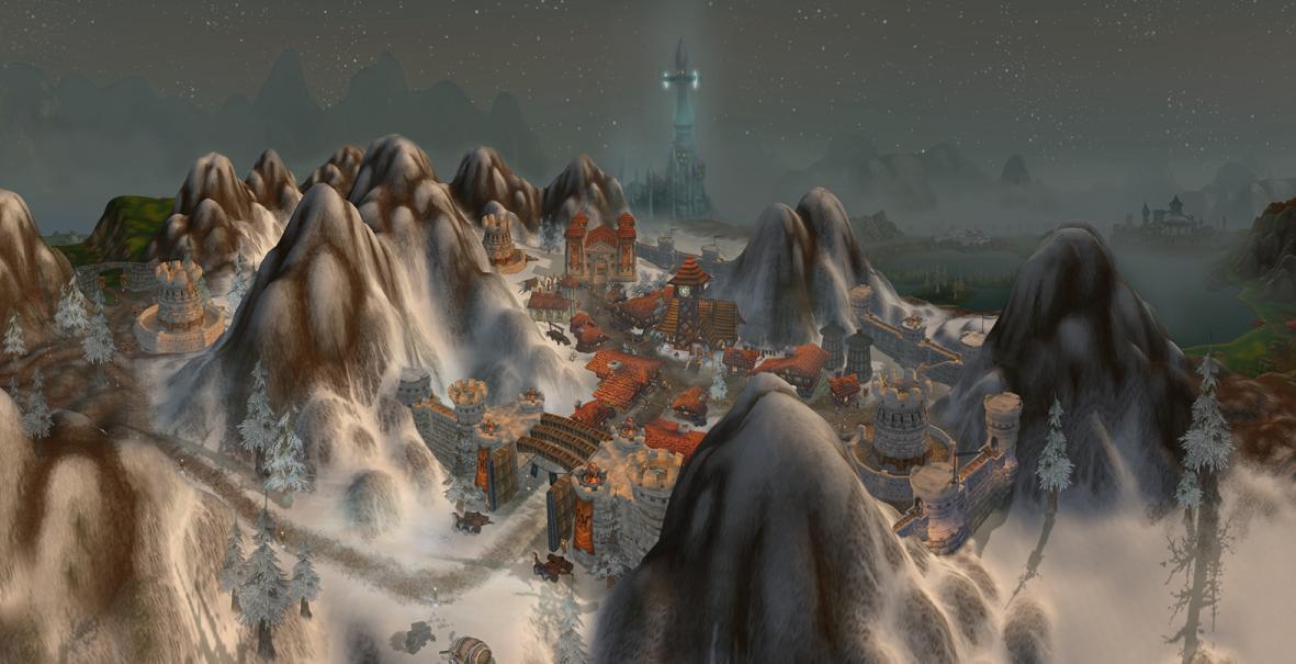 Eski Alterac şehir devleti [Arka planda Dalaran şehri de gözükmekte]