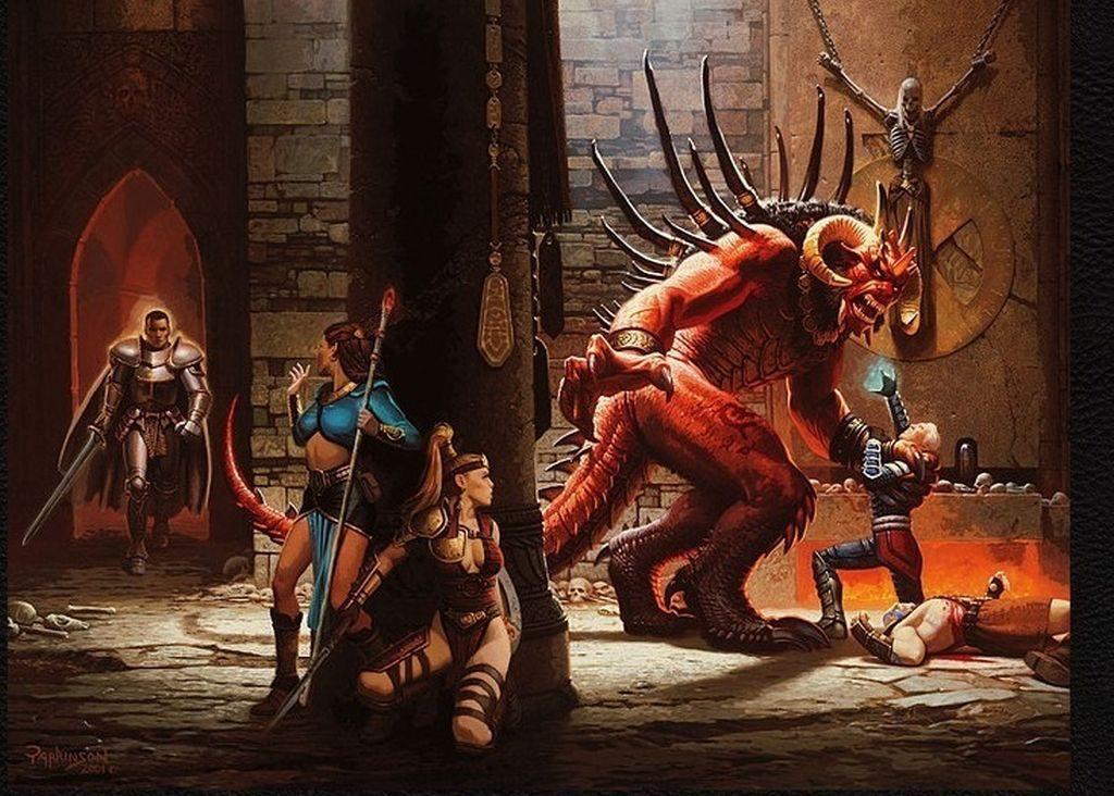 Paladin, Isendra, Cassia, Xul ve Barbarian Diablo'ya karşı dövüşürken...