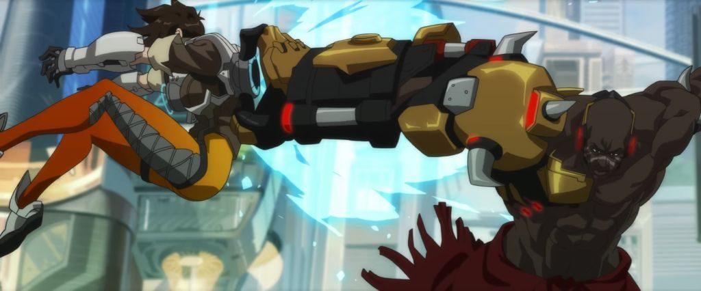 Doomfist, dövüş sırasında Tracer'ın zamansal hızlandırıcısını sökerken...