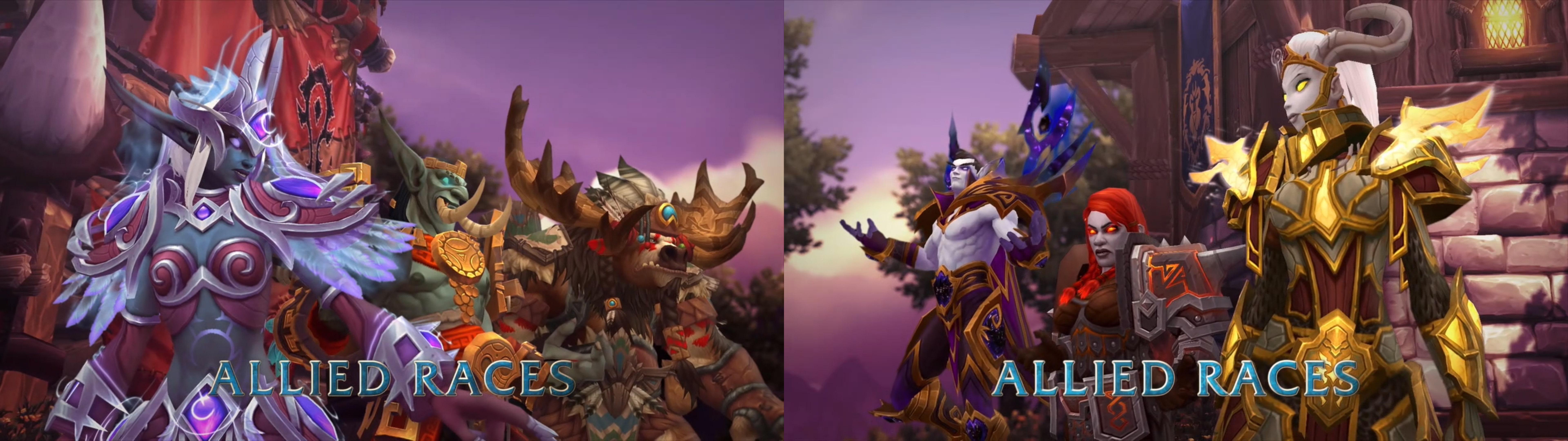 Sol tarafta Horde ırkları - Nightborne elfleri, Zandalari trolleri, Highmountain taurenleri Sağ tarafta Alliance ırkları - Lightforged draeneilar, Dark Iron cüceleri ve Void elfler