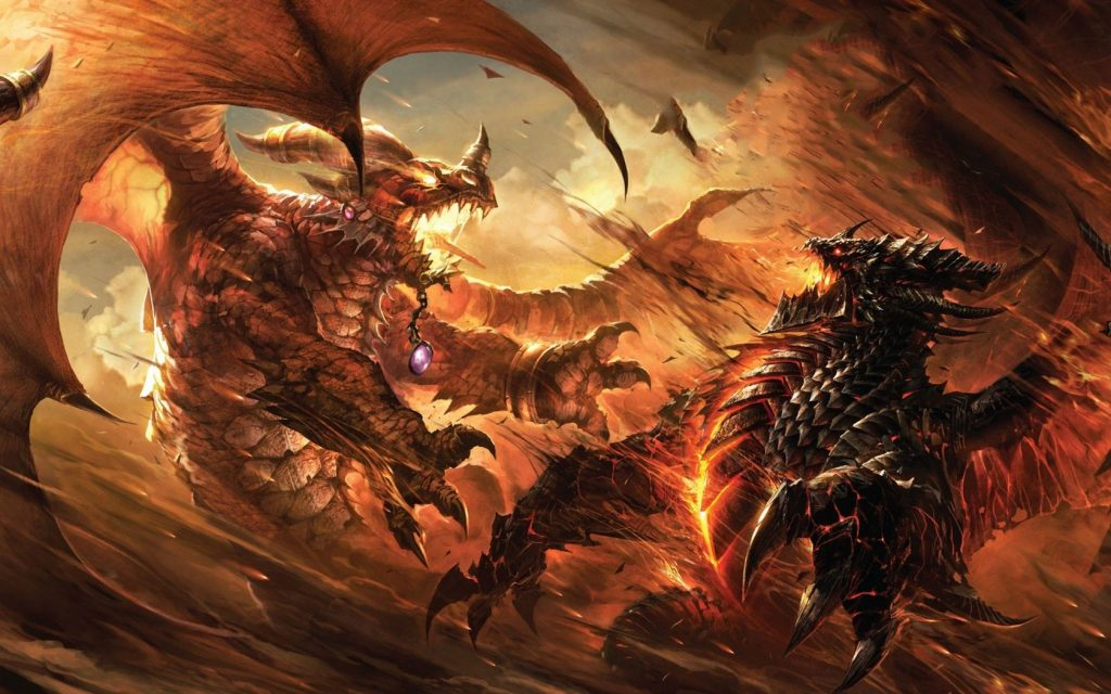 Neltharion ile savaşan Alexstrasza