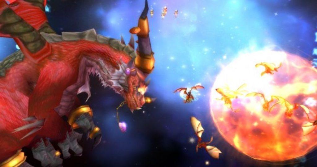 Alexstrasza ve kırmızı ejderhaları, Malygos'u alt etmek için fânilere yardım ederken